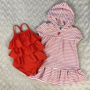 Carter's One Piece Swimsuit & Coverup 9 Months